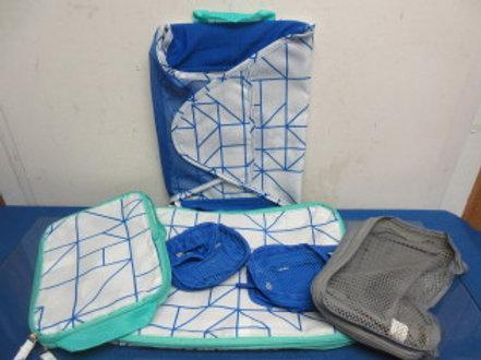 Blue Green and white 6pc nylon and net travel organizer