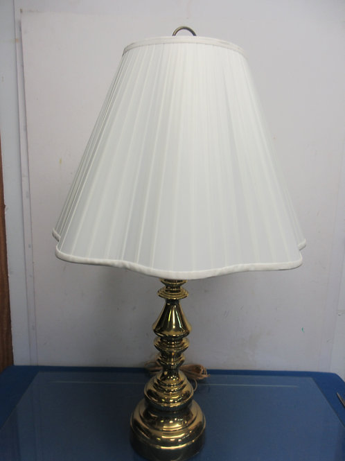 """Shiny gold table lamp with WHITE shade, 30"""" high"""