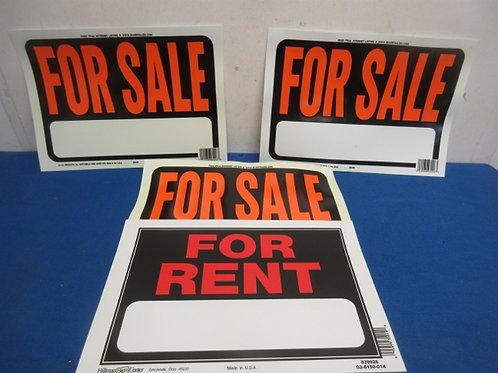 Set of 4 signs, 3- For Sale, 1-For Rent