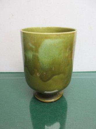 "Green footed ceramic vase 6"" diameterx9""high"