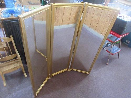 Gold 3 panel mirror - each panel 14x44