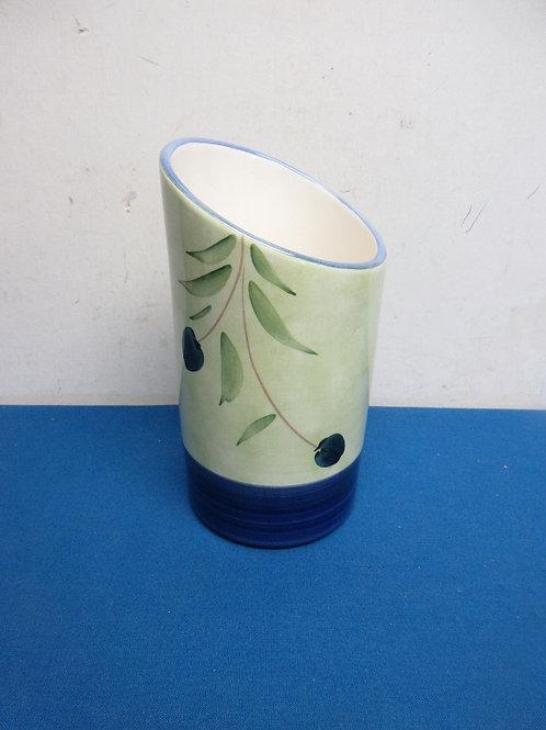 Crate & barrel green ceramic wine bottle holder with olive branch design