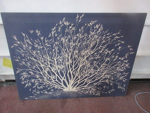 """Large blue & white print of a tree, 36x48"""""""
