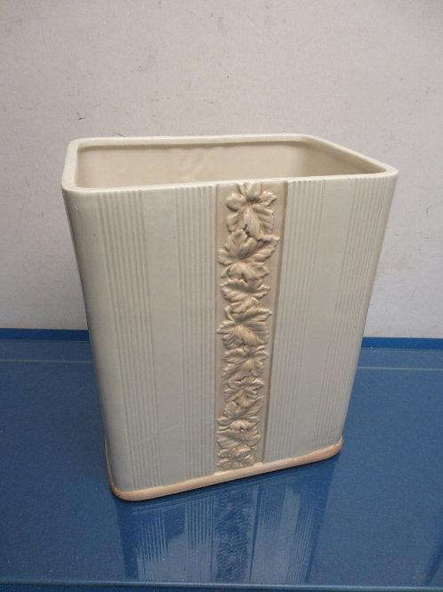 White ceramic rectangular waste basket
