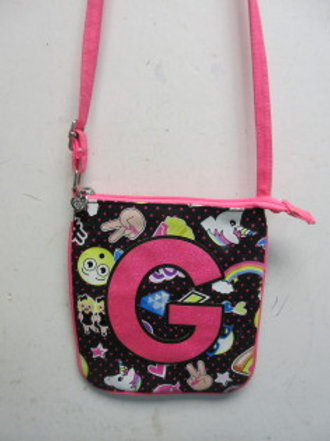 """Justice child's unicorn purse with large pink letter """"G"""" on the side"""