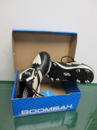 Boombah Black/Vegas Gold Baseball Turf Spikes, size 8, new, never used