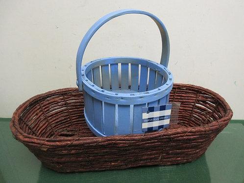 """Pair of baskets, dark brown oblong 8x18x4""""high& round blue wooden basket 7x4""""hi"""