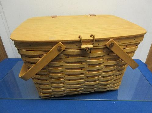 Longaberger XLarge deep basket w/hinged lid, inside wood shelf,plastic liner