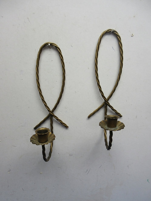 Pair of coppertone twised metal candle wall sconces