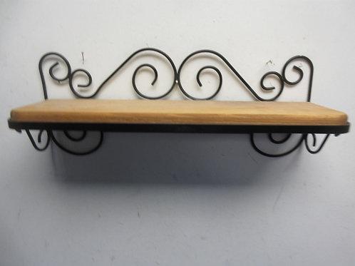 "Black metal frame wooden wall shelf, 18"" long"