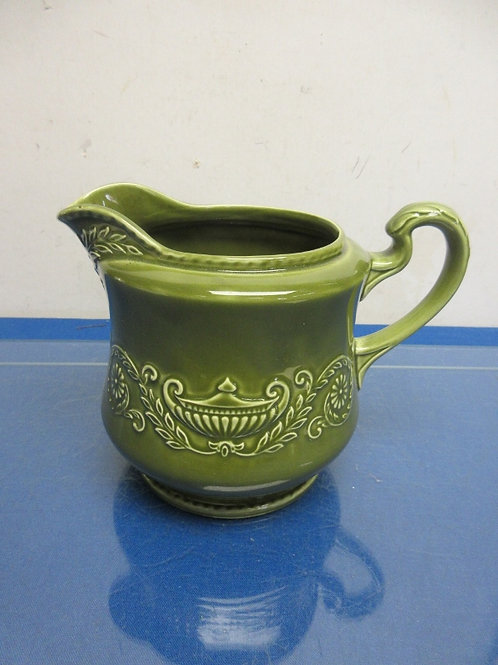 Regency ironstone large green pottery pitcher