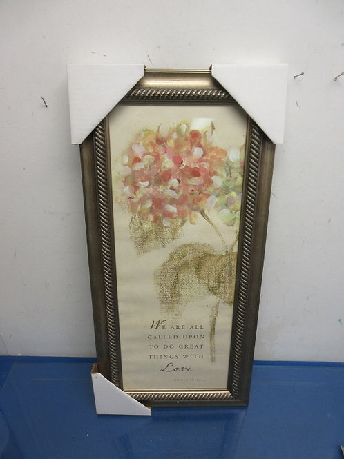 Watercolor vertical print of hydrangea w/Mother Theresa quote, gold frame11x23