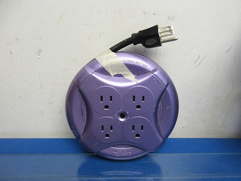 Purple 5 foot extension cord reel with 4 plug outlets