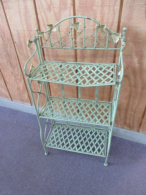 Green rustic style small folding shelving unit