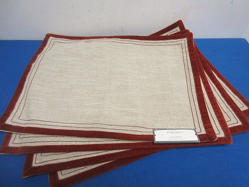 """Set of 4 Threshold beige with burgundy trim placemats, 14x19"""" -New"""