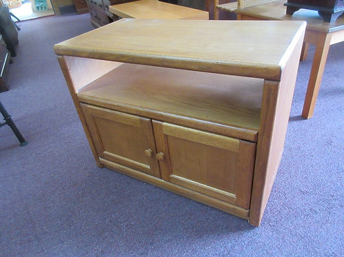 "Oak TV stand with shelf and 2 door storage 31x16x24"""