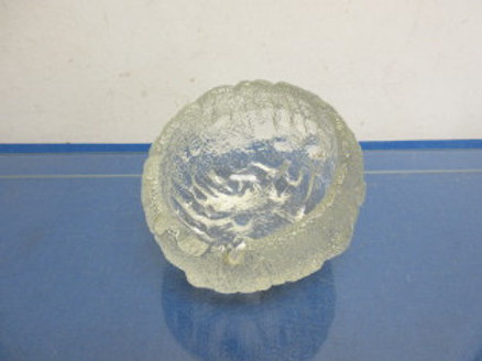 Heavy vintage frosted glass deep bowl style ash tray