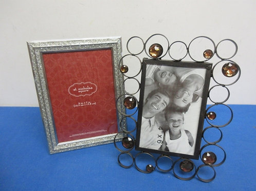 Pair of 5x7 photo frames, black with jewel accent, & silver glistening