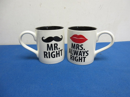 Pair of Novelty mugs, Mr.Right and Mrs. ALWAYS Right