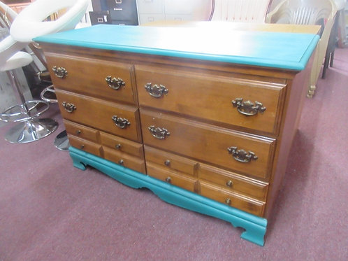 Maple 6 drawer dresser with painted teal design - 18x50x32