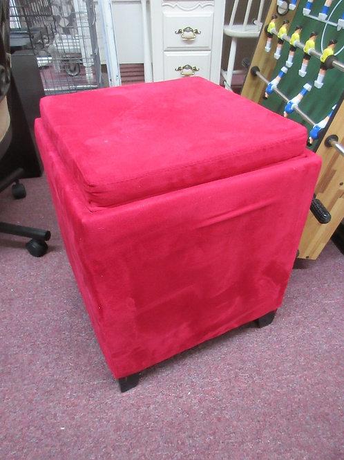 Red velvet cube style storage ottoman