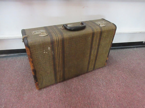Antique olive green hard shell suitcase, 14x21x6