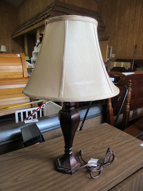 """Brown table lamp with ivory shade, 31"""" tall"""