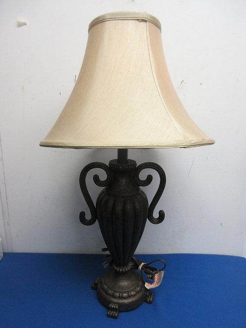 Metal jar base lamp with 2 handles and tan shade