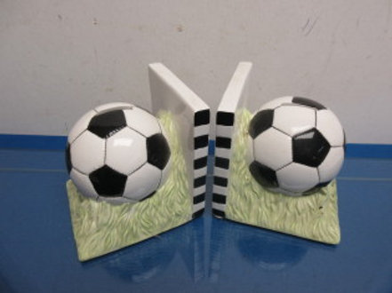 Pair of ceramic soccer ball bookends
