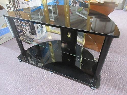 Semi circle black tv stand with one bottom glass shelf 40x21x23