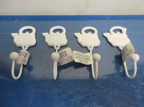 Set of 4 Darice white metal teapot shaped wall hooks