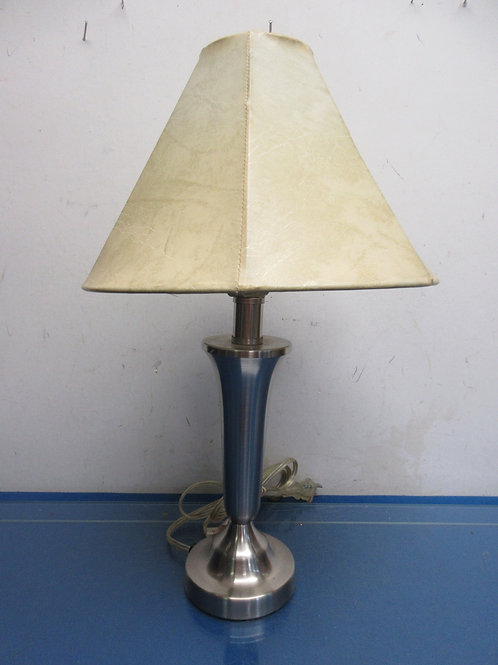 "Small stainless bedside lamp with pull chain switch & faux leather shade 19"" hi"