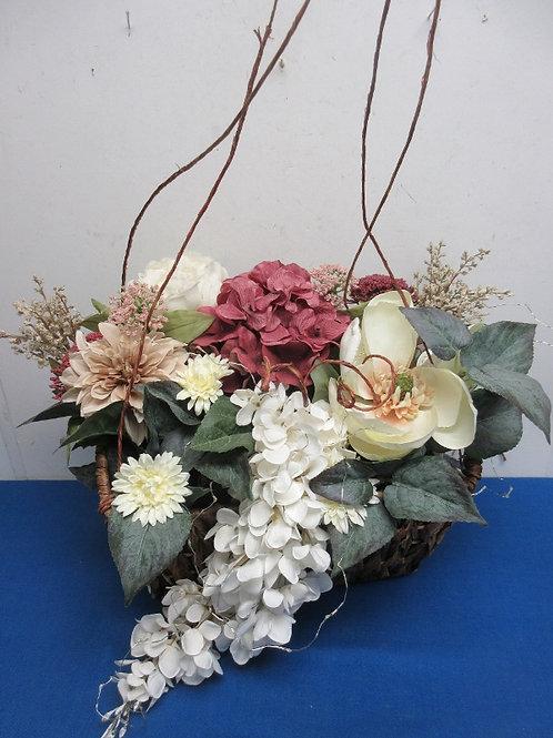 Large artifical floral arrangement w/twinkle lights & hanger/large woven basket