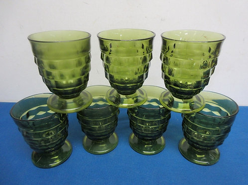 Set of 7 green glass footed juice glasses