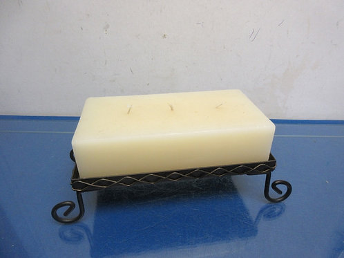 """Metal footed candle stand with 3 wick rectangular candle 4x8x4.5""""high"""