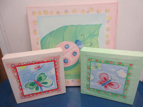"""Set of 3 butterfly stretched canvas wall art, two are 10x10""""and one is 18x18"""""""