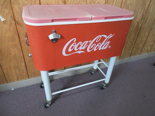 Vintage Coca Cola large cooler on rolling stand with double lid and drainage 15x