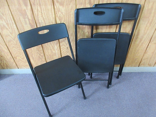 Set of 3 black plastic & metal folding chairs
