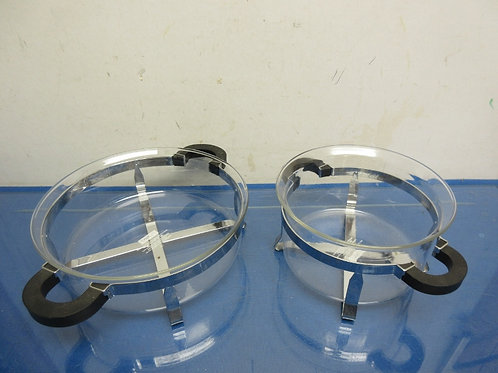 Set of 2 round Bodum glass bowls with metal caddy