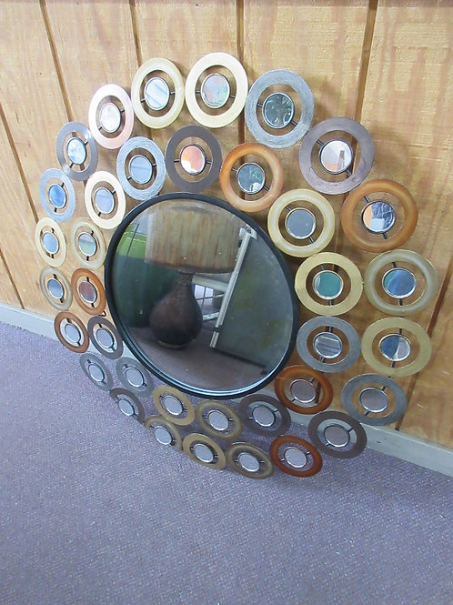 "Kirklands round mirror surrounded by 2 rows of welded small mirrors 36"" diameter"
