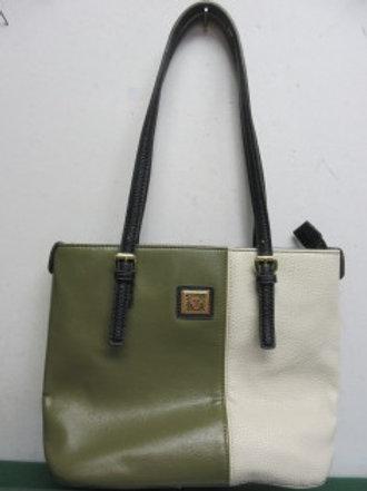 Anne Klein beige & olive green purse with black handles