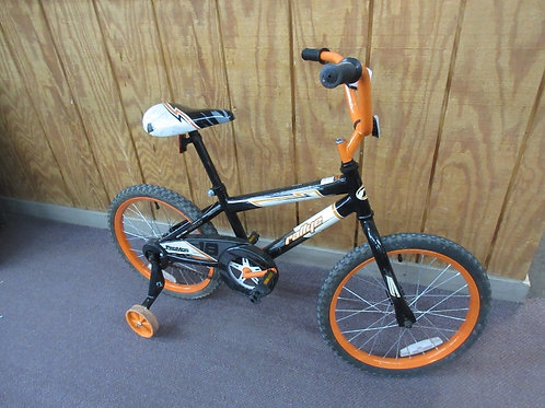 "Orange and black 16"" bike with training wheels"