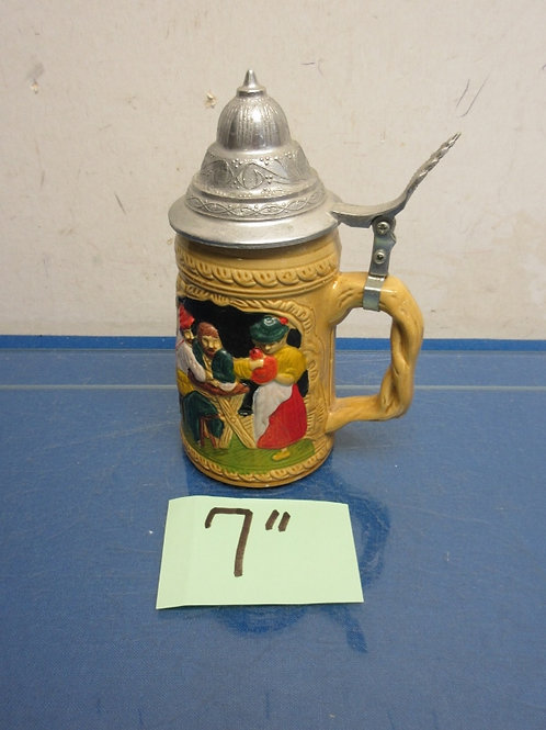 """Small German stein with metal lid 7""""high, 2 available"""
