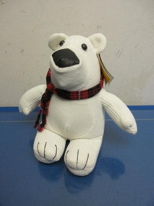 Sitting polar bear with scarf-door stop