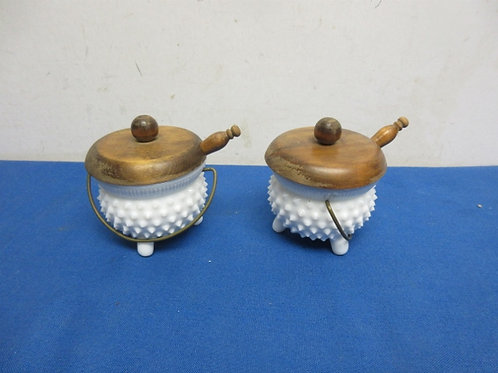Pair of small milk glass condiment bowls with wooden lids