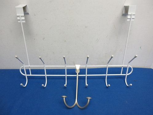 Pair of over the door hangers, 1 large white metal, & 1 small nickel metal hange