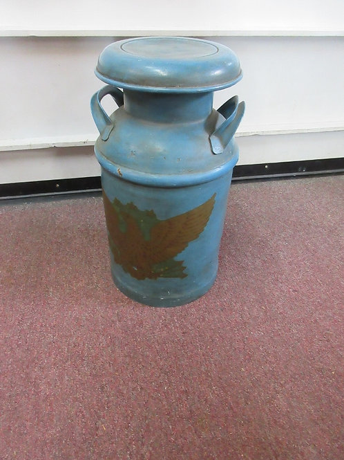 """Blue painted milk can with gold eagle design, 20"""" tall"""