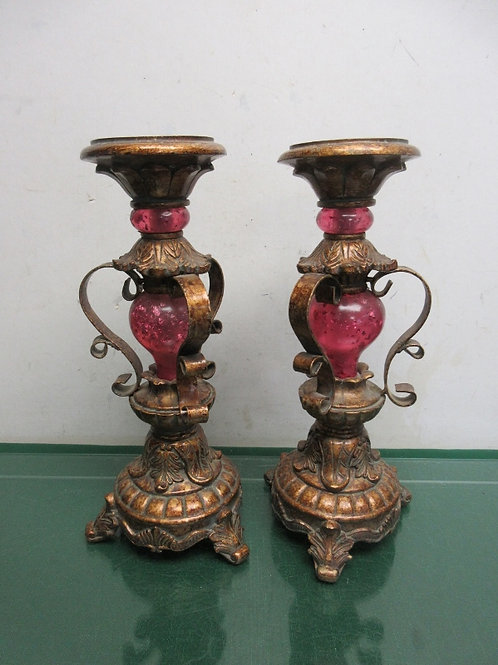 """Pair of ornate gold & pink glass pillar candle stands, each are 12"""" high"""