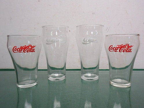 Set of 4 Coca-cola glasses - 2 large with white writing and 2 small with red wri