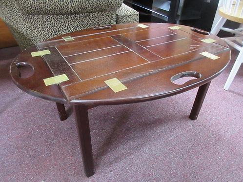 Cherry butler style small coffee table - removeable tray w/fold up sides - 25x35